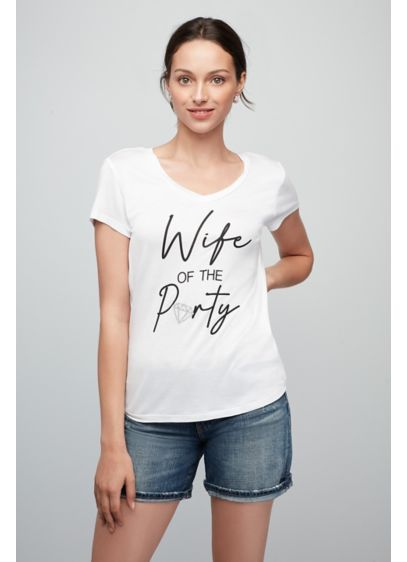 Wife of the Party with Diamond V-Neck T-Shirt - Wedding Gifts & Decorations