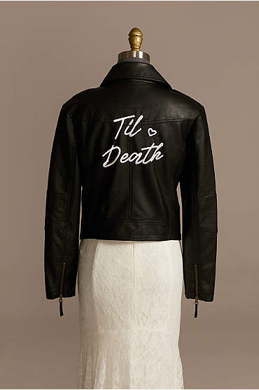 Til Death Script Black Vegan Leather Moto Jacket