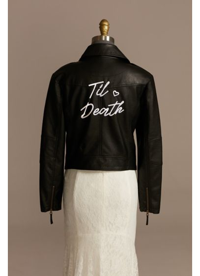Til Death Script Black Vegan Leather Moto Jacket - Show off your bride status with this ultra-cool