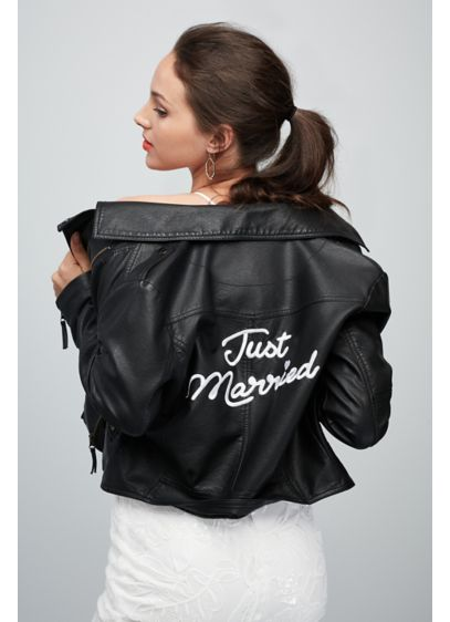 David's Bridal Black (Just Married Embroidered Vegan Leather Moto Jacket)