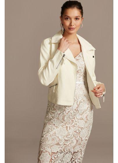 White (Wifey Script Moto-Style Vegan Leather Jacket)