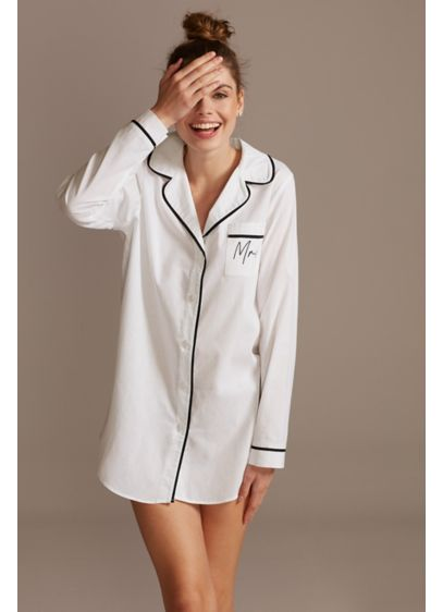 Oversized Mrs Button Down Sleep Shirt - Trimmed with black piping, this long-sleeve sleep shirt