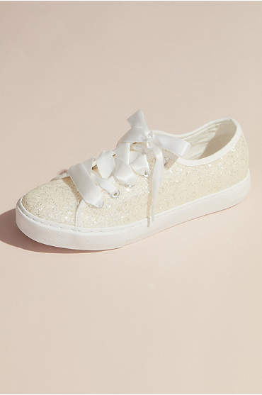 Glittery Sneakers with Organza Laces