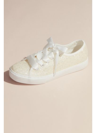 Glittery Sneakers with Organza Laces - Slip these glittery statement sneakers under your wedding