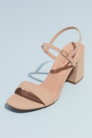 Bamboo Beige;White Heeled Sandals (Quarter-Strap Exaggerated Block Heel Sandals)