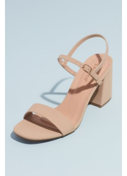 Bamboo White (Quarter-Strap Exaggerated Block Heel Sandals)