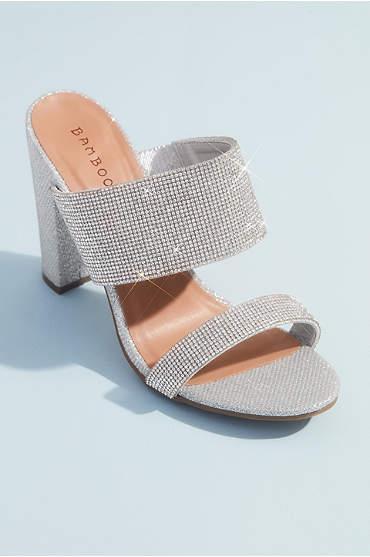 Shimmer Metallic High Block Heel Mule Sandals