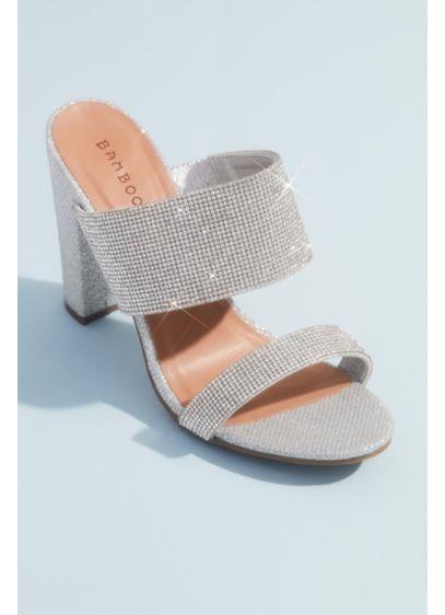 Bamboo Grey (Shimmer Metallic High Block Heel Mule Sandals)