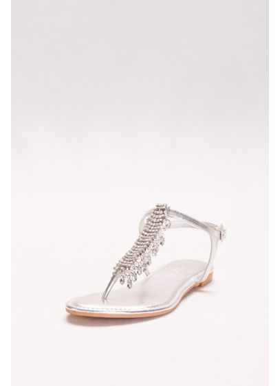 Bamboo Grey (Metallic T-Strap Sandals with Dripping Crystals)