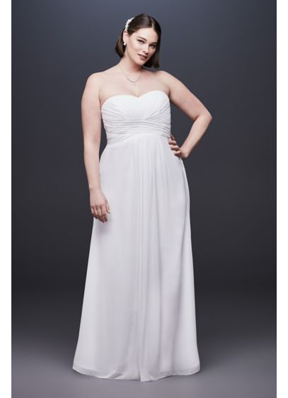 Chiffon Plus Size Wedding Dress with Ruched Bodice - You will effortlessly speak volumes in this simple