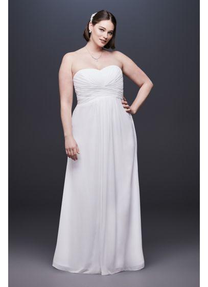Chiffon Plus Size Wedding Dress With Ruched Bodice