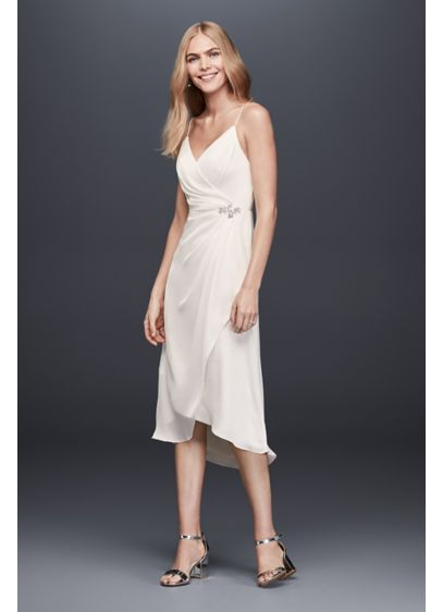 Ruched Charmeuse Sheath Dress with Brooch | David\'s Bridal