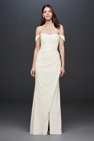 Shoulder Crepe Sheath Gown