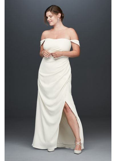 Draped Off the Shoulder Plus Size Crepe Gown - Simple, elegant, and of-the-moment, this plus-size crepe sheath