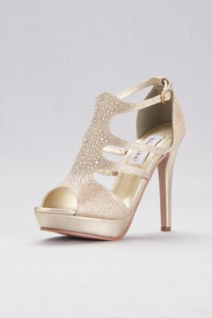 Dyeables Grey;Yellow (Shimmer Platform Cage Heels with Crystals)