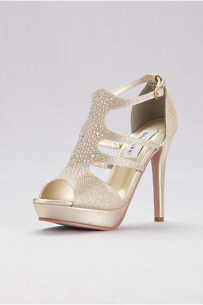 Shimmer Platform Cage Heels with Crystals - Stand tall (and fabulous!) in these shimmery platform