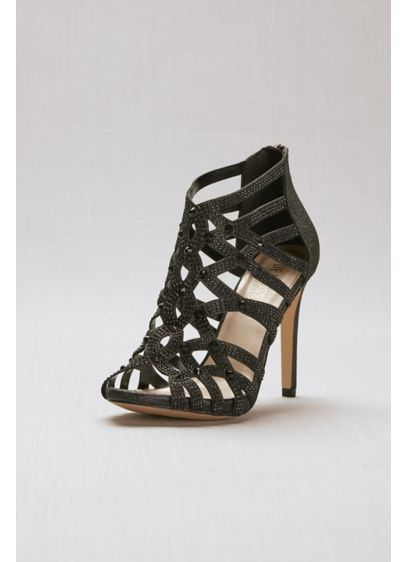 Black (Crystal-Encrusted Back Zipper Cage Heels)
