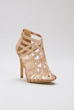 Blossom Black;Pink (Crystal-Encrusted Back Zipper Cage Heels)