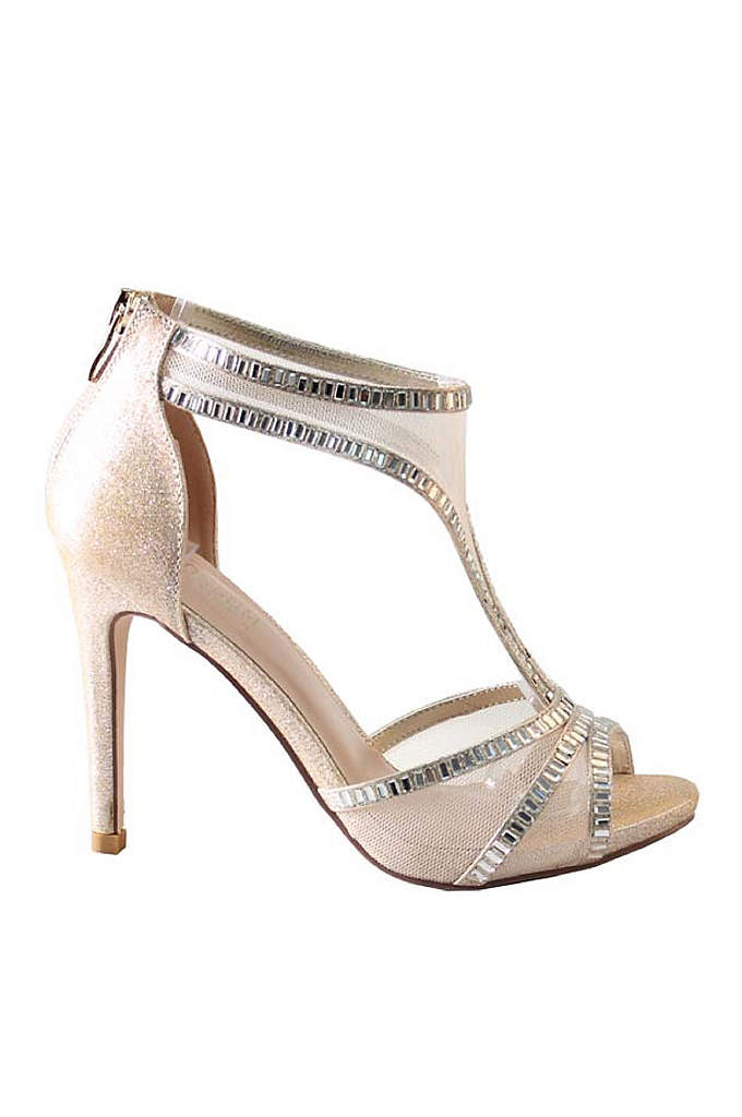Mesh T-Strap High Heels with Crystal Embellishment - An edgy mesh T-strap is lent a dose