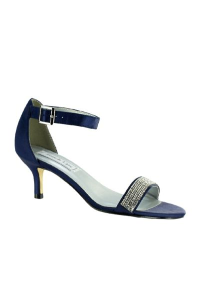 Jeweled Single Strap Mid-Heel Sandals - Featuring a single-strap vamp detailed with sparkly crystals,