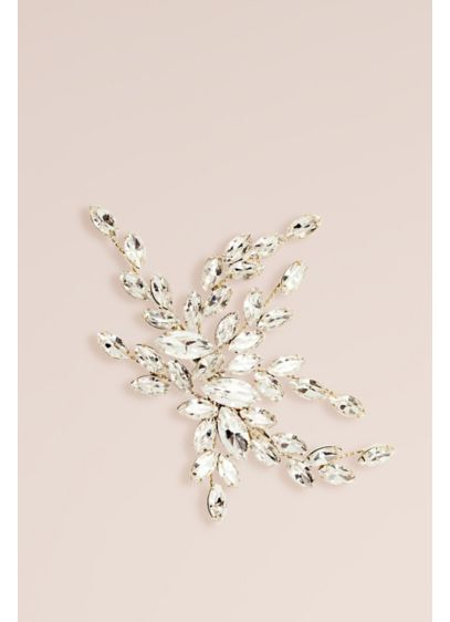Hand-Wired Swarovski Crystal Marquise Leaf Clip - A wide spray of marquise-cut Swarovski crystal leaves