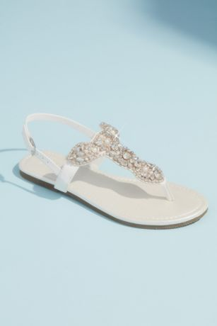 David's Bridal Ivory Flat Sandals (Pearl and Crystal T-Strap Flat Metallic Sandals)
