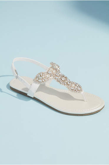 Pearl and Crystal T-Strap Flat Metallic Sandals