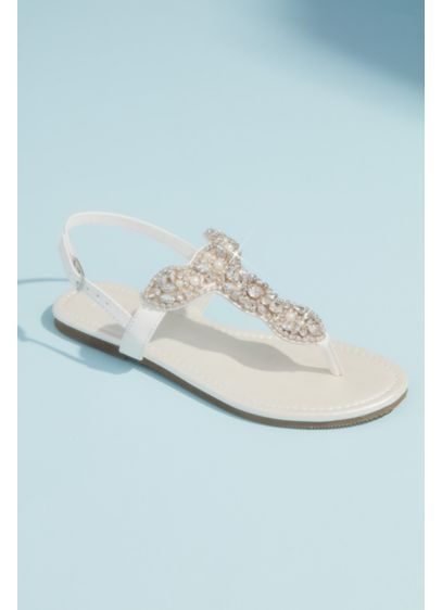 David's Bridal Ivory (Pearl and Crystal T-Strap Flat Metallic Sandals)