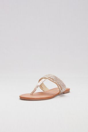 David's Bridal Ivory Flat Sandals (Crystal-Studded Thong Sandals)