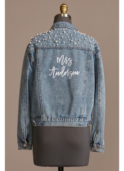 Personalized Pearl Studded Denim Jacket - Wedding Gifts & Decorations