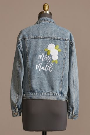 Personalized Floral Embroidered Denim Jacket