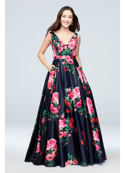 Printed Satin V-Neck Ball Gown with Side Cutouts - A mix of traditional and modern, this matte