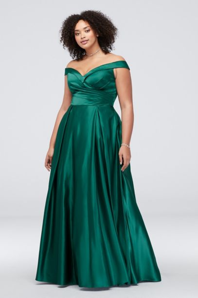 Pleated Off The Shoulder Plus Size Ball Gown David S Bridal