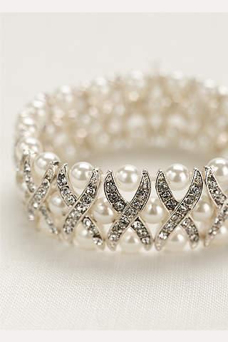 Brazalete de Perlas Y Cristales Con Diseño en X