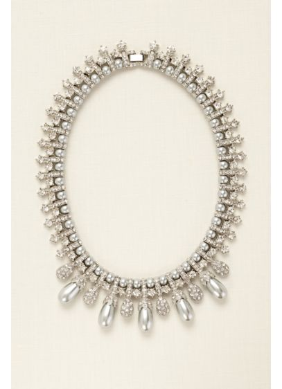 Pearl and Rhinestone Pave Necklace - Wedding Accessories
