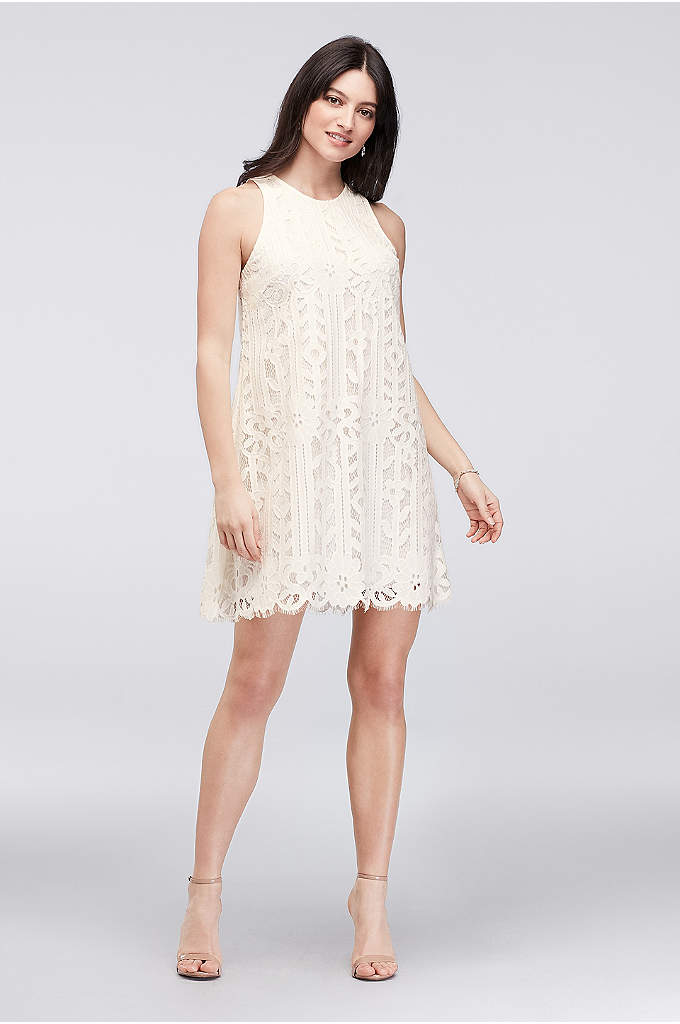 Floral Lace Short Sheath with Keyhole Back - Adorned with fringy eyelash trim and finished with
