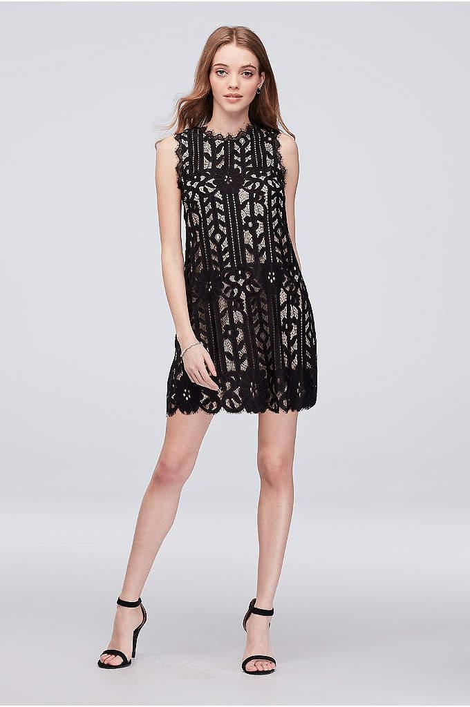 Sleeveless Lace Short Dress with Eyelash Trim