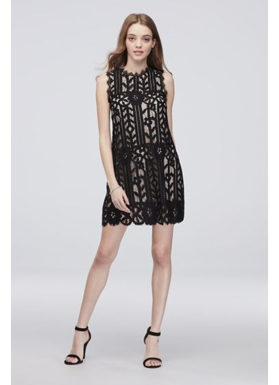 Sleeveless Lace Short Dress with Eyelash Trim - Of-the-moment eyelash trim lines the neckline, arms, and
