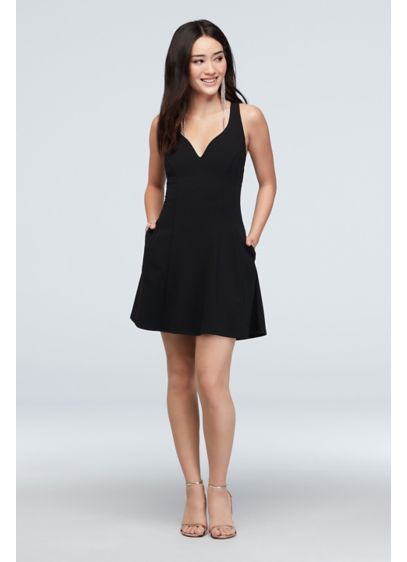Plunging V Fit and Flare Short Dress with - The classic fit and flare mini dress gets