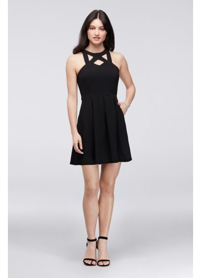 Cutout Neck Short Crepe Dress with Pleats - This short-and-sweet crepe dress is jazzed up with