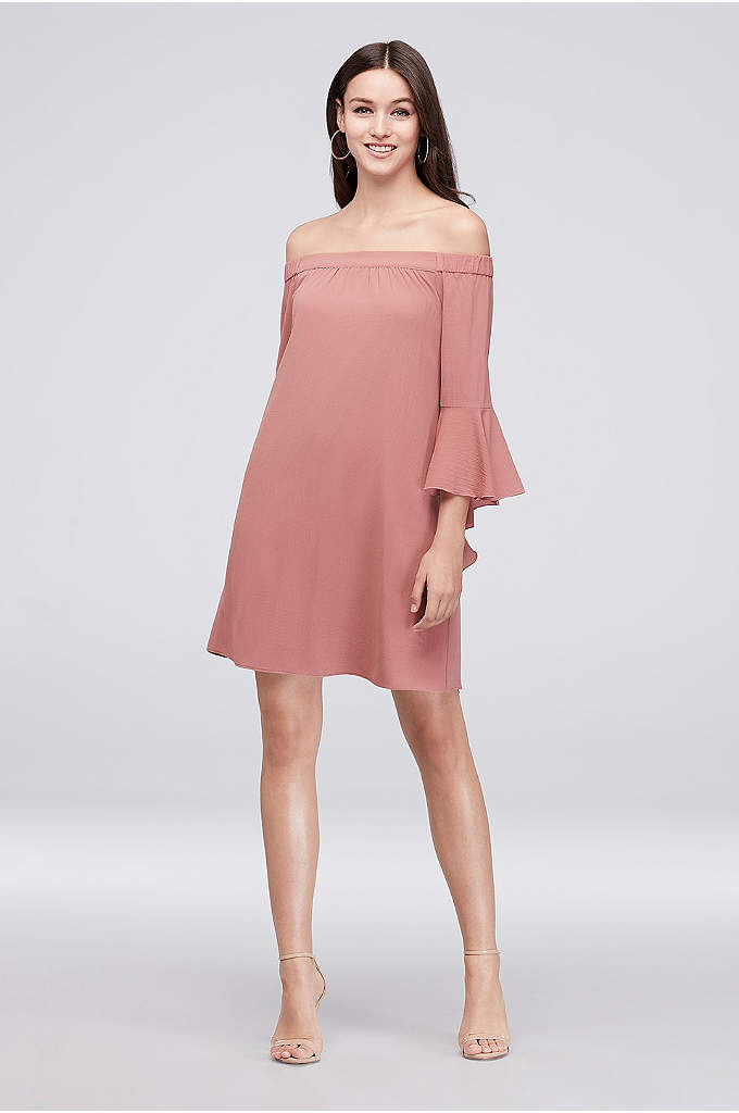 3/4 Bell Sleeve Off-The-Shoulder Crepe Shift Dress - An easy choice for every party on your