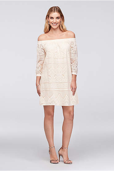 Off-the-Shoulder 3/4-Sleeve Lace Shift Dress