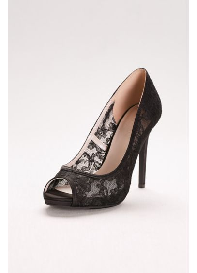 David's Bridal Black (Illusion Lace Peep-Toe Pumps)
