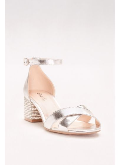Qupid Grey (Crystal-Studded Block-Heel Sandals)