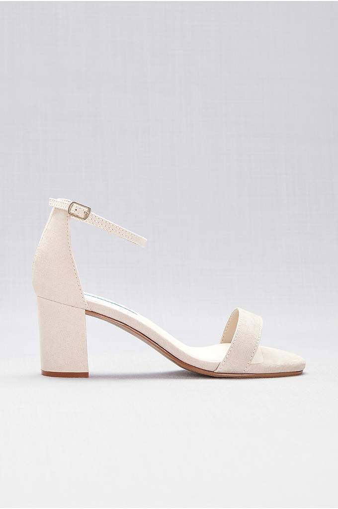 Suede Block Heel Open-Toe Sandals - The sturdy block heel and padded footbed on