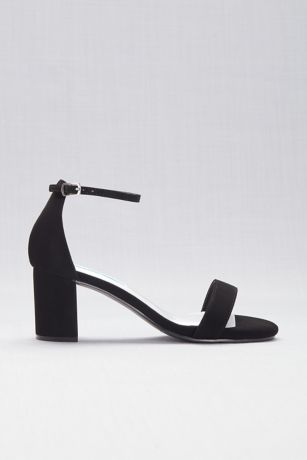 Comfort Collection Beige;Black Heeled Sandals (Suede Block Heel Open-Toe Sandals)