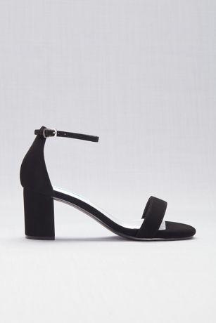 Comfort Collection Beige;Black Heeled Sandals (Suede Block Heel Open-Toe Sandals)