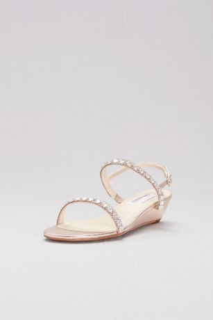 Dyeables Grey;Ivory (Crystal-Embellished Metallic Low Wedge Sandals)