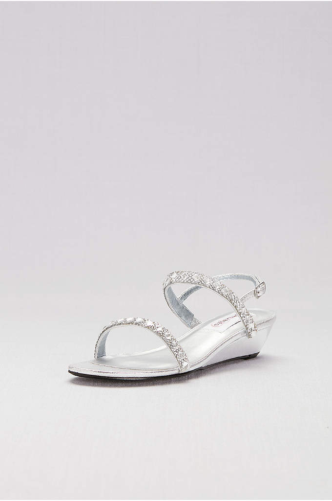 Crystal-Embellished Metallic Low Wedge Sandals - This simple silhouette is dressed up for nighttime.
