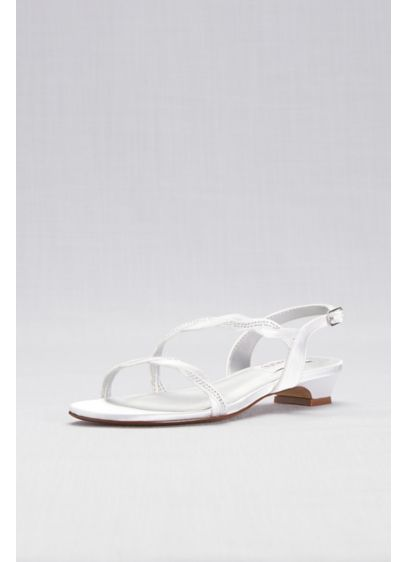 Dyeable Satin Sandals with Braided Crystal Straps - These low-heel, dyeable satin sandals are finished with